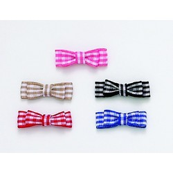 Small Double Gingham Flat Bows Barrettes