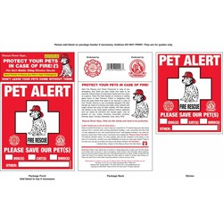 """Rescue Rover"" Pet Alert Fire Rescue Static Cling Window Decals"