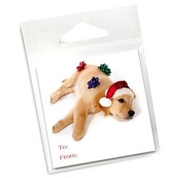 10 Pack of Holiday Gift Tags -Golden w/ Bows