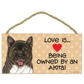 "Wood ""Love Is... being owned by a... "" Signs - 5"" x 10"" (Breed Specific): Dogs For the Home Decorative Items"