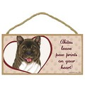 "(Breed Name) leave paw prints on your heart! -  5"" x 10"" Wood Plaque Sign: Dogs For the Home Decorative Items"