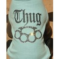 Thug Brass Knuckles Rhinestone Dog T-shirt: Dogs Pet Apparel Coats