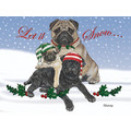 Pugs in Snow<br>Item number: C527: Dogs Holiday Merchandise