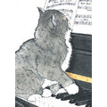 Cats-Piano Kitty Birthday Cards<br>Item number: B454: Cats