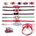 Embellished Solid Petal Flowers Leash: Dogs Collars and Leads Fabric